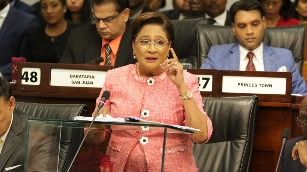 Leader of the Opposition, Kamla Persad-Bissessar, makes her contribution to The Appropriation (Financial Year - 2020) Bill, 2019. © 2019 Office of the Parliament.
