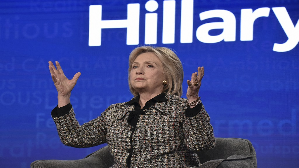 "Hillary Clinton participates in the Hulu ""Hillary"" panel during the Winter 2020 Television Critics Association Press Tour, on Friday, January 17, 2020, in Pasadena, Calif. (Photo by Richard Shotwell/Invision/AP)"
