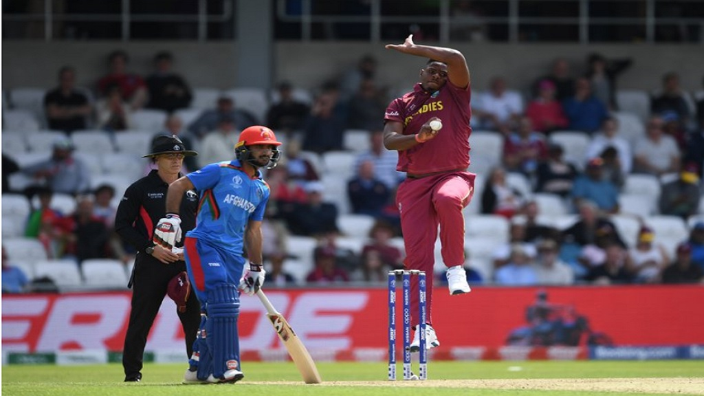 Young fast bowler Oshane Thomas in action for the West Indies.