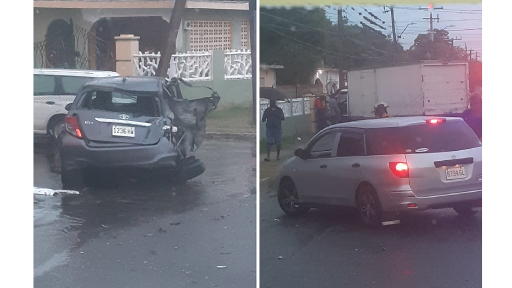 Combination of photos showing the aftermath of a two-vehicle collision along Gordon Boulevard in Ensom City, St Catherine on Monday morning.
