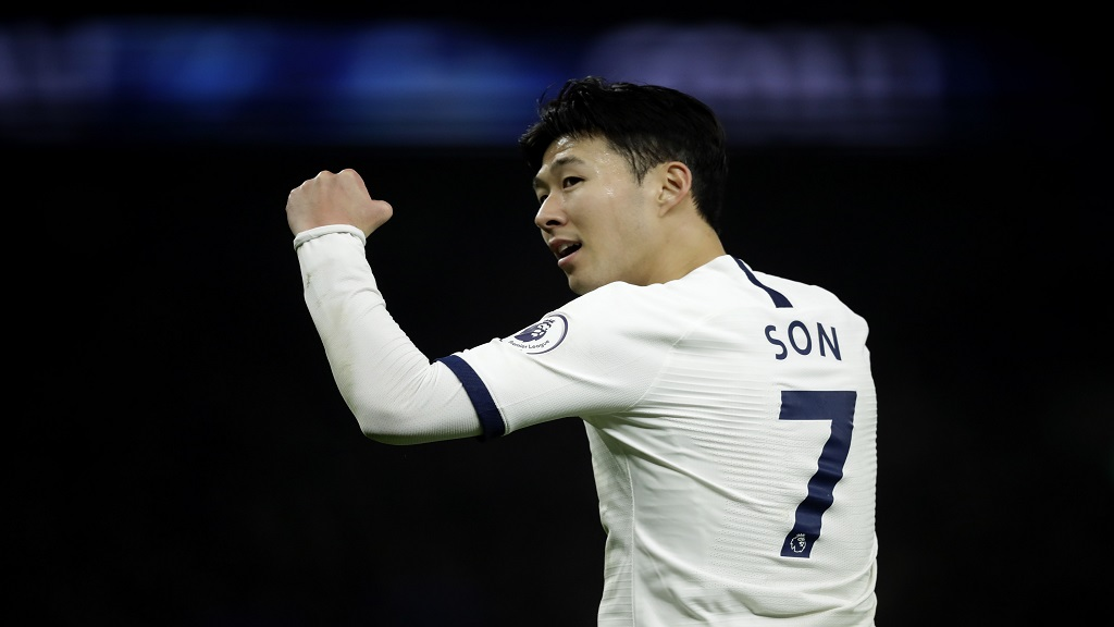 Tottenham's Son Heung-min celebrates his goal against Norwich City during the English Premier League football match against Norwich City at the Tottenham Hotspur Stadium in London, England, Wednesday, Jan. 22, 2020. (AP Photo/Matt Dunham).