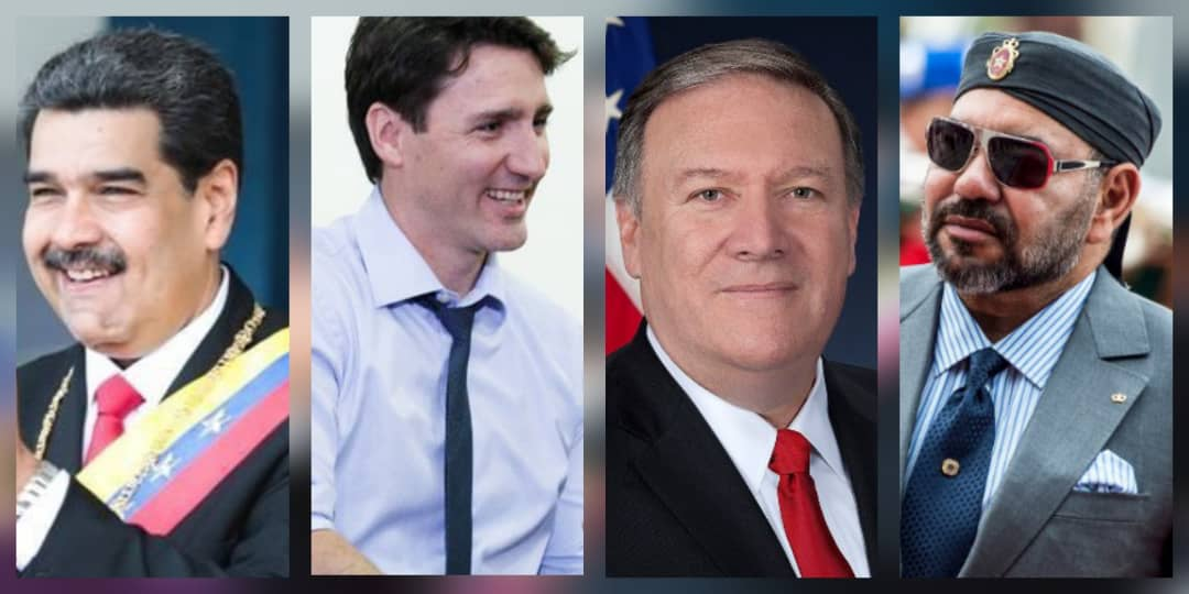 De gauche à droite: Nicolas Maduro, Justin Trudeau, Mike Pompeo et le roi roi Mohammed VI