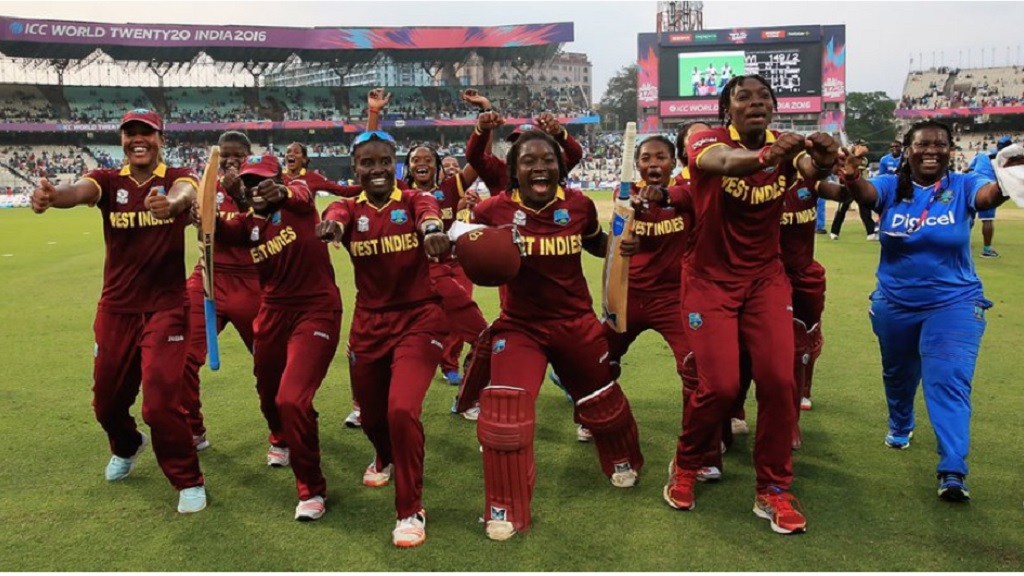 West Indies Women celebrate winning their