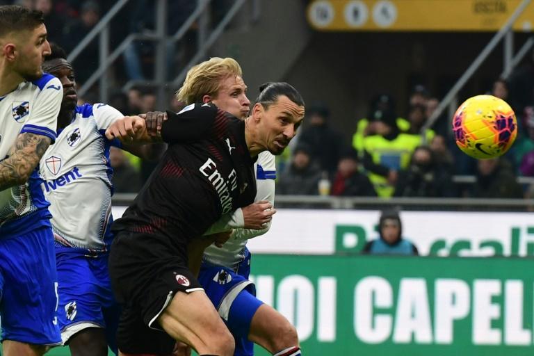 Zlatan Ibrahimovic officiellement de retour en Serie A avec l'AC Milan lors de la réception de la Sampdoria à San Siro, le 6 janvier 2020. AFP / Miguel MEDINA
