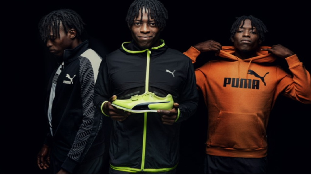 Photo shows different images of Jamaican long jumper Tajay Gayle in branded Puma gear.