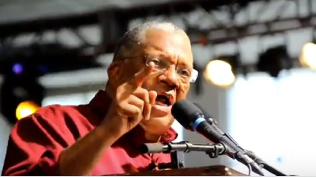 A screengrab of Dr Peter Phillips speaking on corruption at the People's National Party's (PNP) annual conference on Sunday.