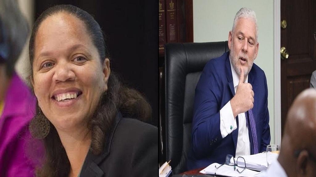 Jeanine Compton Antoine (Left),  Prime Minister Allen Chastanet (Right)