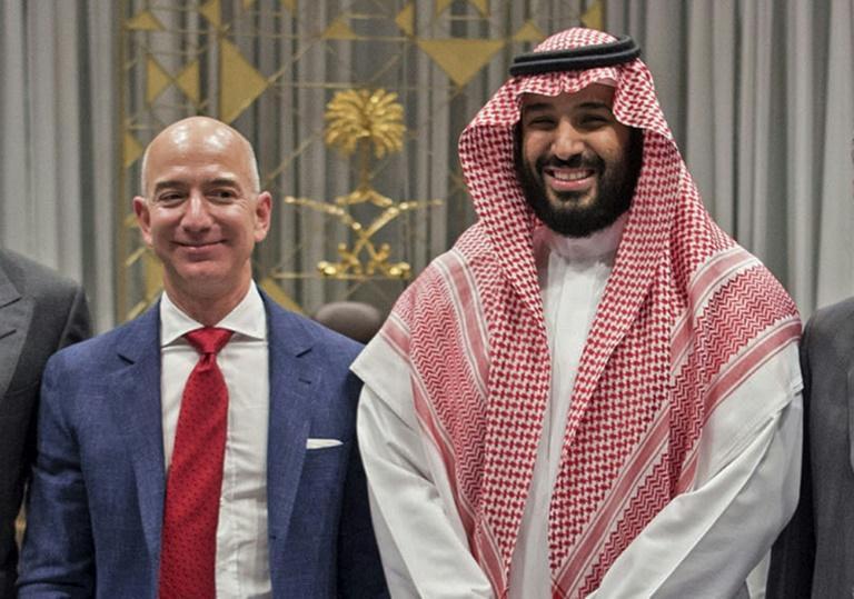 Jeff Bezos et le prince Mohammed ben Salmane à Ryad en novembre 2016 afp.com - Bandar AL-JALOUD