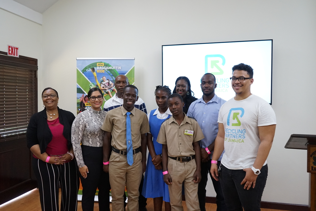 Caption: Winners of Round one of the Mystic Mountain Foundation Youth Environment & Tourism Project Browns Town High posed with the team from Recycling Partners of Jamaica.