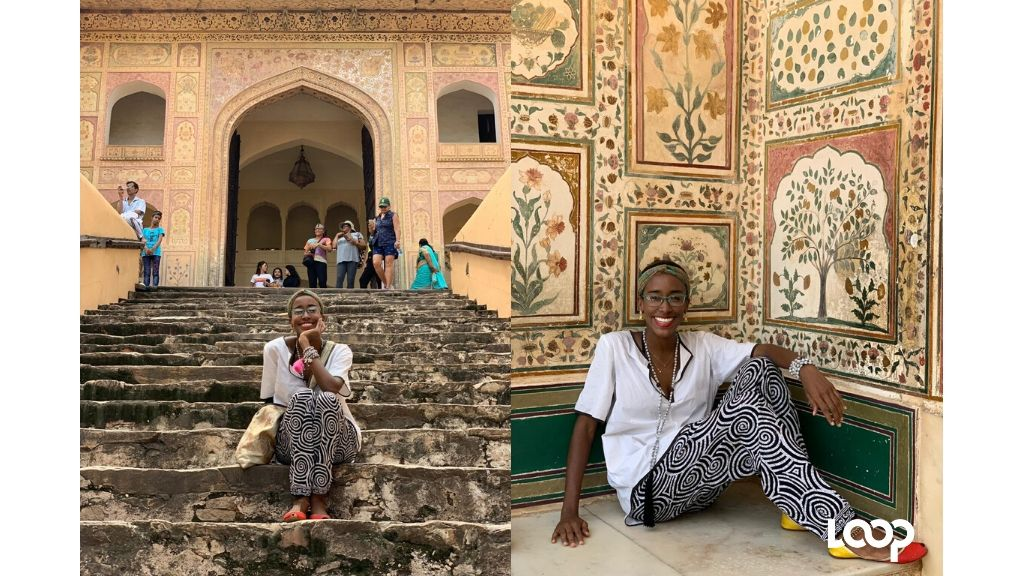 Designer and fashion illustrator Ayanna Dixon outside the Amber Fort. (Photos: Contributed)