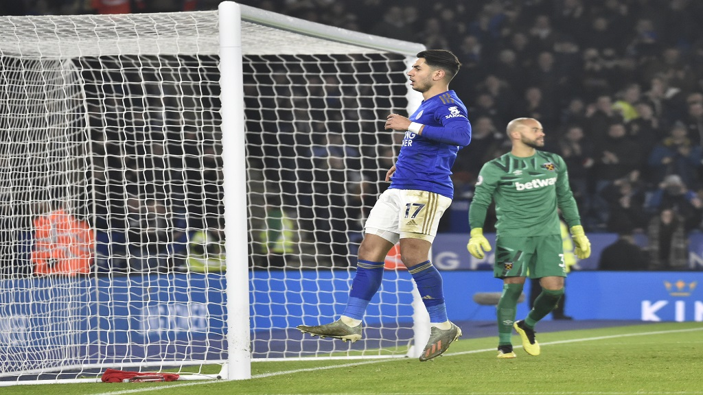 Leicester's Ayoze Perez celebrates after scoring his side's third goal during the English Premier League football match against West Ham Utd at the King Power Stadium in Leicester, England, Wednesday, Jan. 22, 2020. (AP Photo/Rui Vieira).