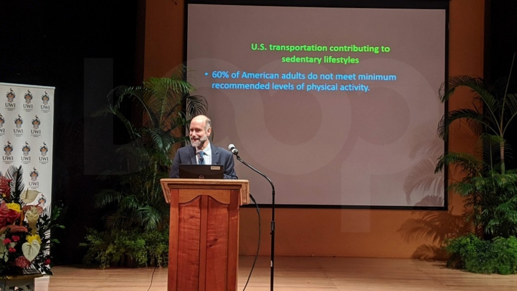 Photo: Professor Jonathan Patz speaks at the Caribbean Planetary Health Conference at the University of the West Indies (UWI) on January 19, 2020, which was organised in collaboration with the Planetary Health Alliance. Photo by Alina Doodnath.