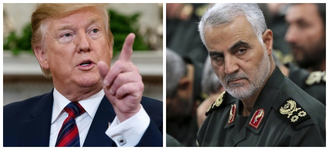 Tensions are brewing between the USA and Iran after General Qasem Soleimani (right) was killed in a drone strike ordered by President Trump (left).