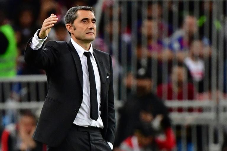 L'entraîneur de Barcelone, Ernesto Valverde, lors de la demi-finale de la Supercoupe d'Espagne face à l'Atlético de Madrid, à Djeddah, le 9 janvier 2020