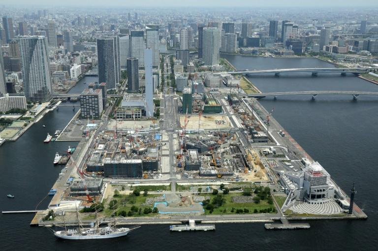 Vue aérienne du village olympique pour les JO de Tokyo-2020, le 21 juillet 2018