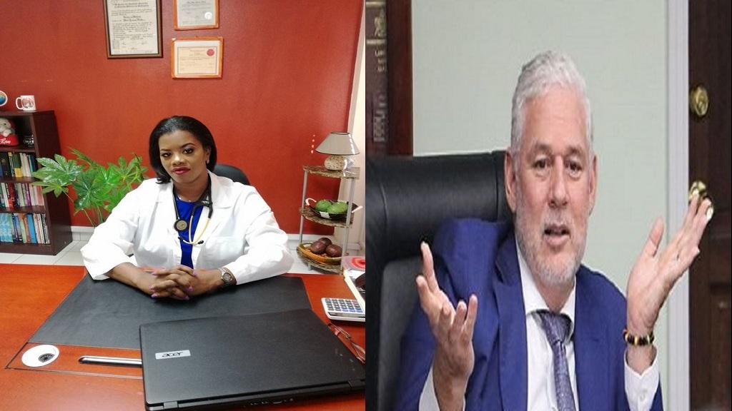 SLMDA President, Dr Merle Clarke (Left), Prime Minister Allen Chastanet (Right)