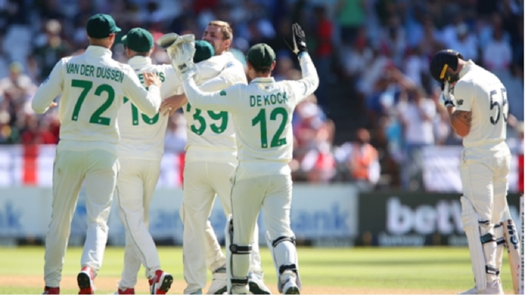 South Africa celebrate Anrich Nortje's dismissal of Ben Stokes.