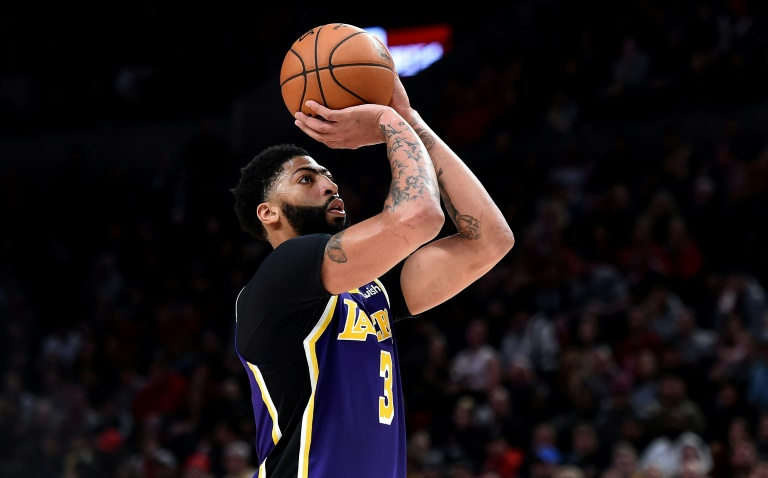 Anthony Davis des Los Angeles Lakers lors du match de NBA face aux Trail Blazers, à Portland, le 6 décembre 2019