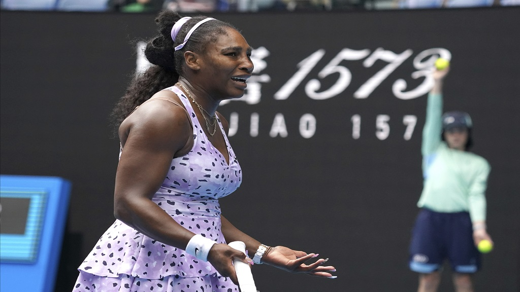 Serena Williams of the U.S. reacts as she plays China's Wang Qiang in their third round singles match at the Australian Open tennis championship in Melbourne, Australia, Friday, Jan. 24, 2020. (AP Photo/Lee Jin-man).