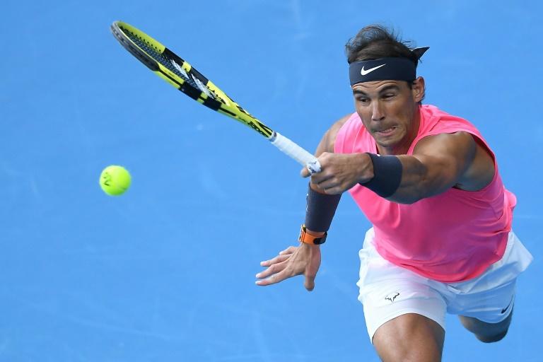 L'Espagnol Rafael Nadal vainqueur de l'Australien Nick Kyrgios en 8e de finale de l'Open d'Australie, à Melbourne, le 27 janvier 2020. AFP / Greg Wood