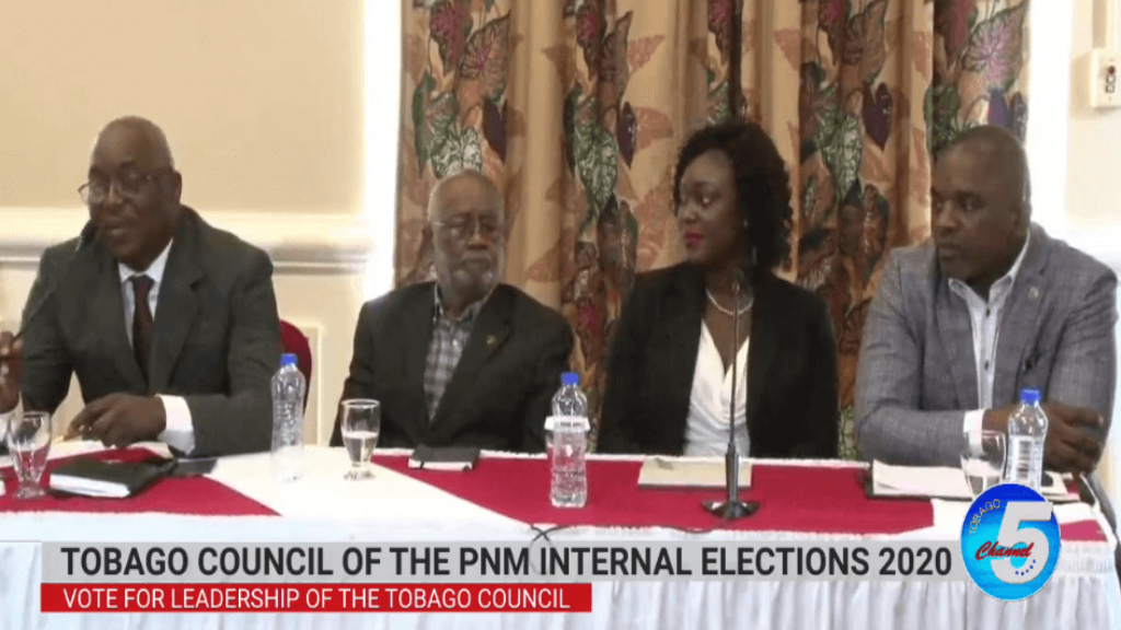 A screengrab from a conference held by the Tobago Council of the PNM on Tuesday, via Tobago Channel 5.