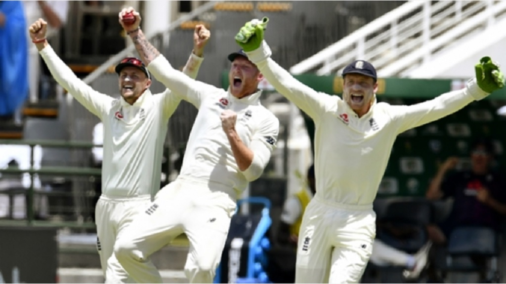 England celebrate against South Africa.