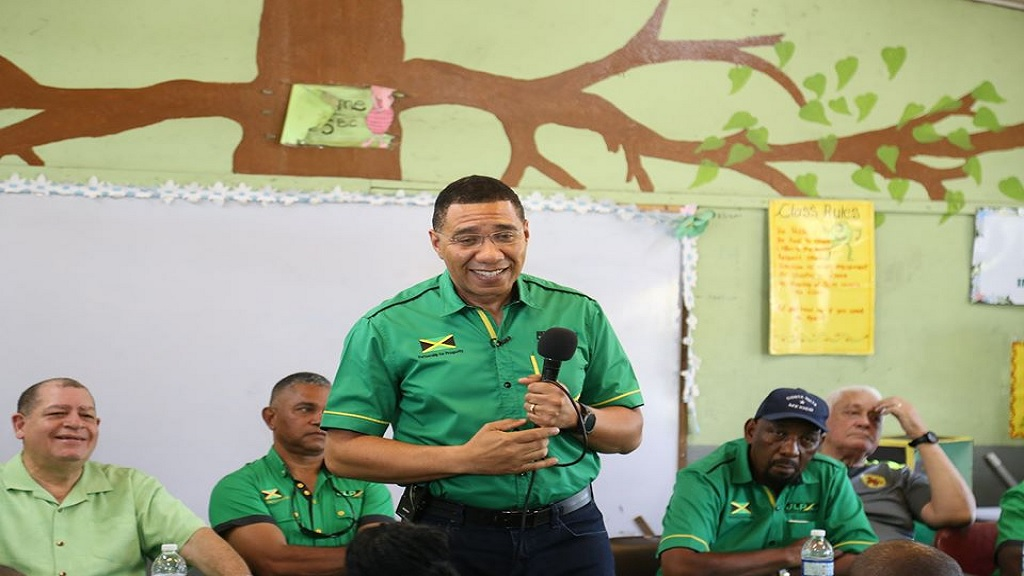 Prime Minister Andrew Holness addressing Labourites at a JLP Area Council Three meeting in Clarendon on Sunday. (Photo: Andrew Holness Facebook)