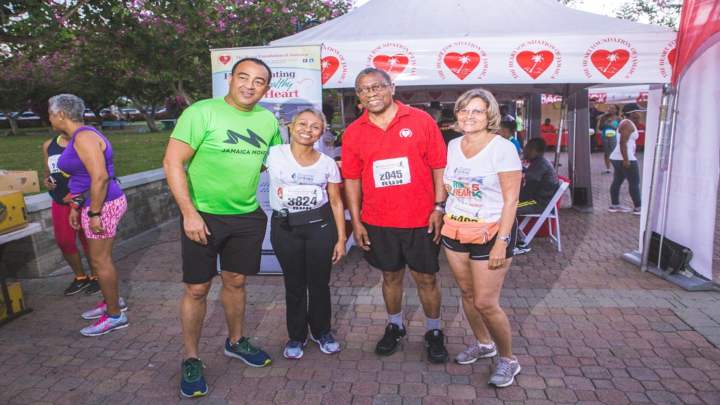 (From left) Health Minister Dr Christopher Tufton, along with senior members of the  Heart Foundation of Jamaica, Dr Andrene Chung,  Winston Barrett and Deborah Chen, pose for the camera ahead of the Crystal Spring Water Run For your Heart 5K/2K.