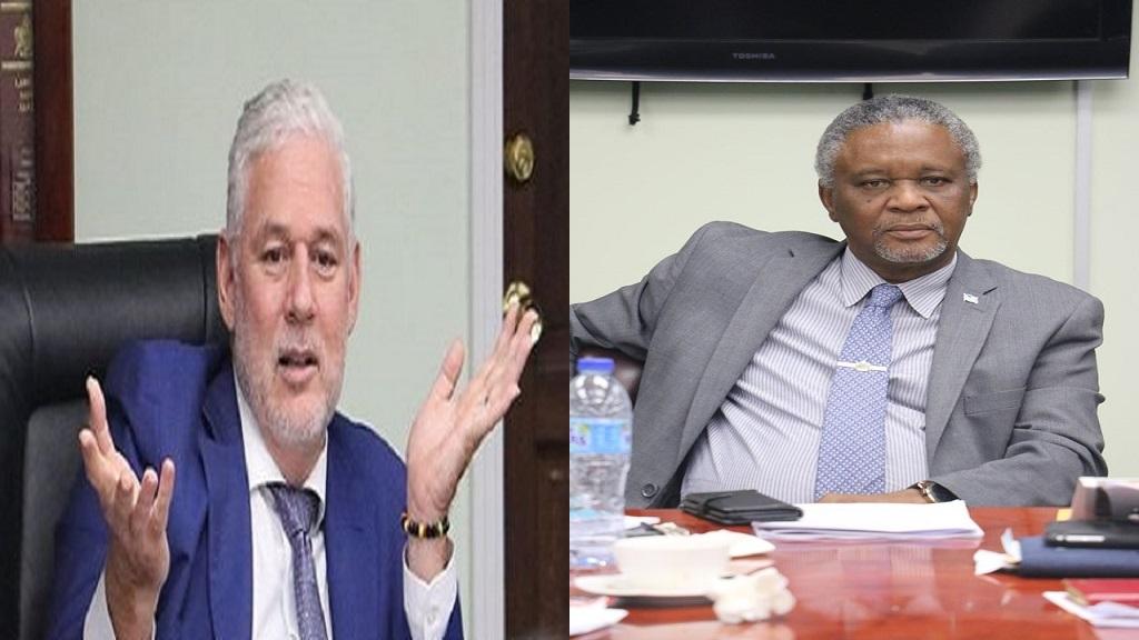 Prime Minister Allen Chastanet (Left),  Senator Hermangild Francis (Right)