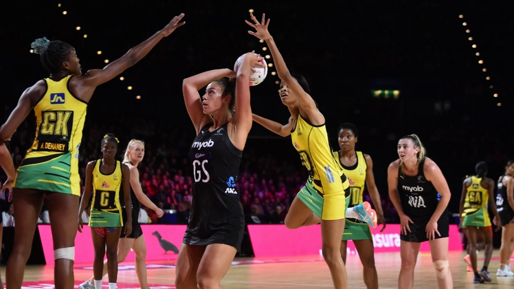 Action from the Vitality Nations Cup netball match between Jamaica and New Zealand  in Birmingham, England on Wednesday.