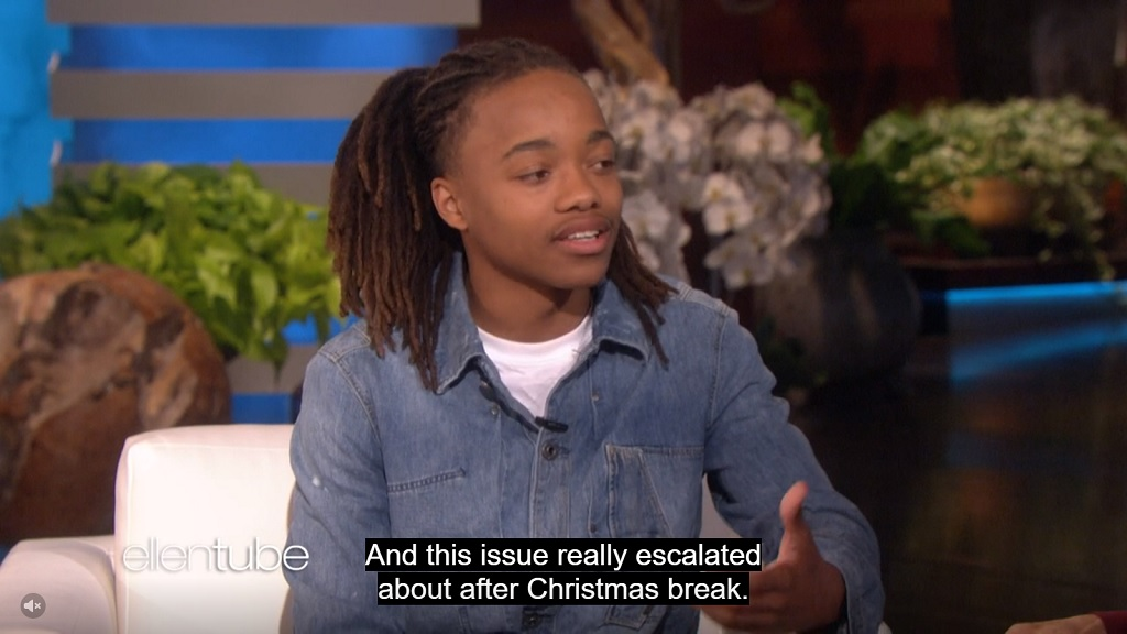 A screenshot taken of DeAndre Arnold on television show 'The Ellen Show'. Arnold was prevented from attending school in Texas or his graduation unless he cuts his dreadlocks. Arnold's father is originally from Trinidad and Tobago.