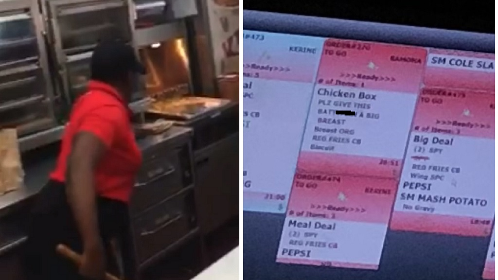 Combination of images showing a worker attacking a rodent inside the KFC Port Antonio outlet and an edited screenshot of the homophobic slur directed at a customer inside the KFC Half-Way Tree restaurant.