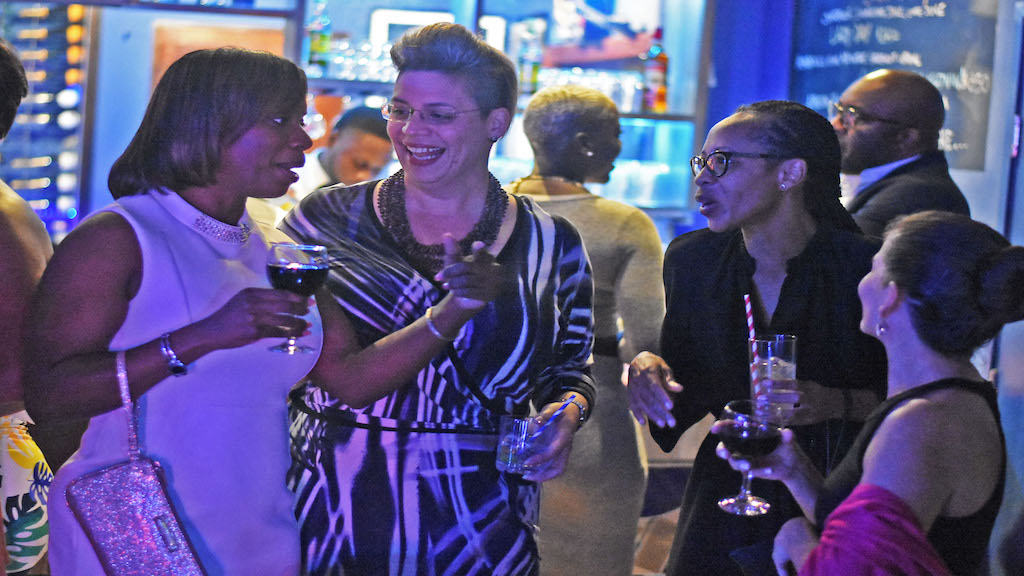 Cocktails and conversation among businesswomen during the PSOJ Soirée. (Photos: Marlon Reid)