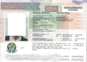 Formulaire d'application pour le visa brésilien
