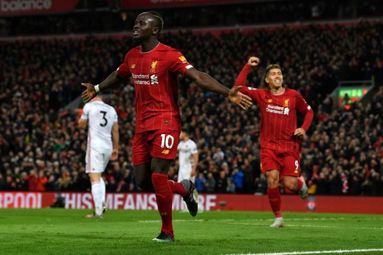 Le bonheur de Sadio Mané après avoir signé le 2e et dernier but de Liverpool dans son succès contre Sheffield United à Anfield, le 2 janvier 2020