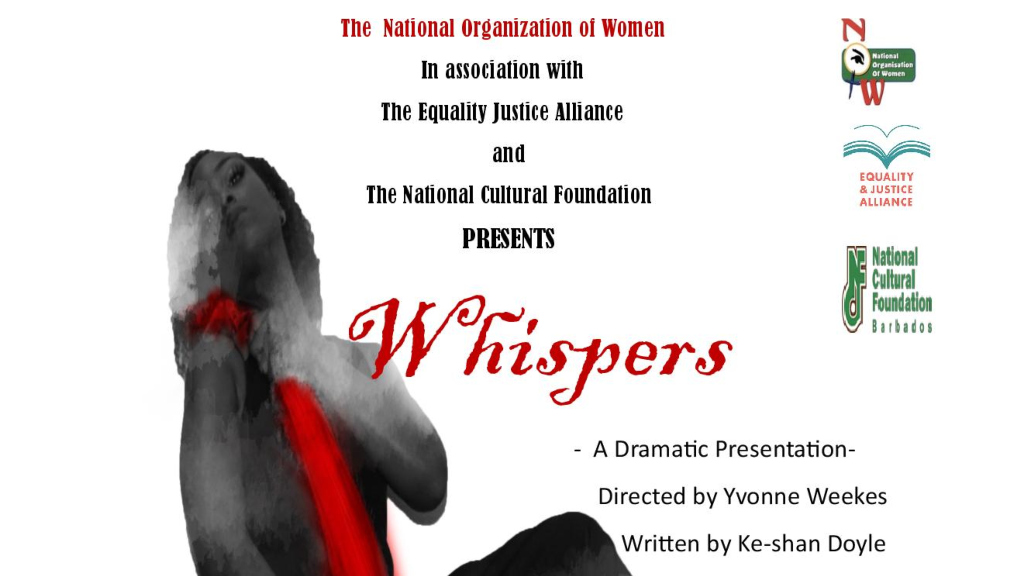 "Flyer for National Organization of Women's Play ""Whispers"""