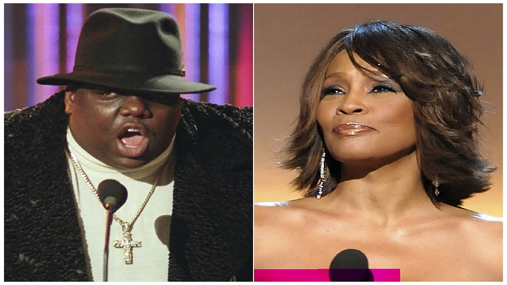 This combination photo shows Notorious B.I.G., who won rap artist and rap single of the year, during the annual Billboard Music Awards in New York on Dec. 6, 1995, left, and singer Whitney Houston at the BET Honors in Washington on January 17, 2009. The pair will be inducted into the Rock and Roll Hall of Fame's 2020 class. (AP Photo)