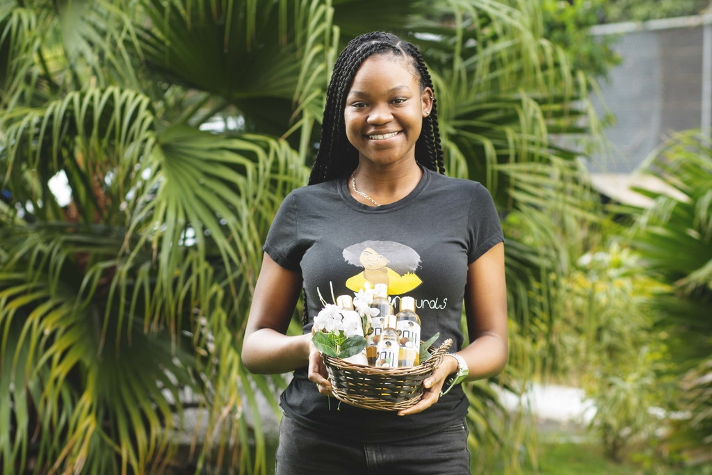 Nia Souden is the CEO of Nessence Naturals, a local manufacturer of natural hair and skin-care products, namely turmeric soap and coconut oil.