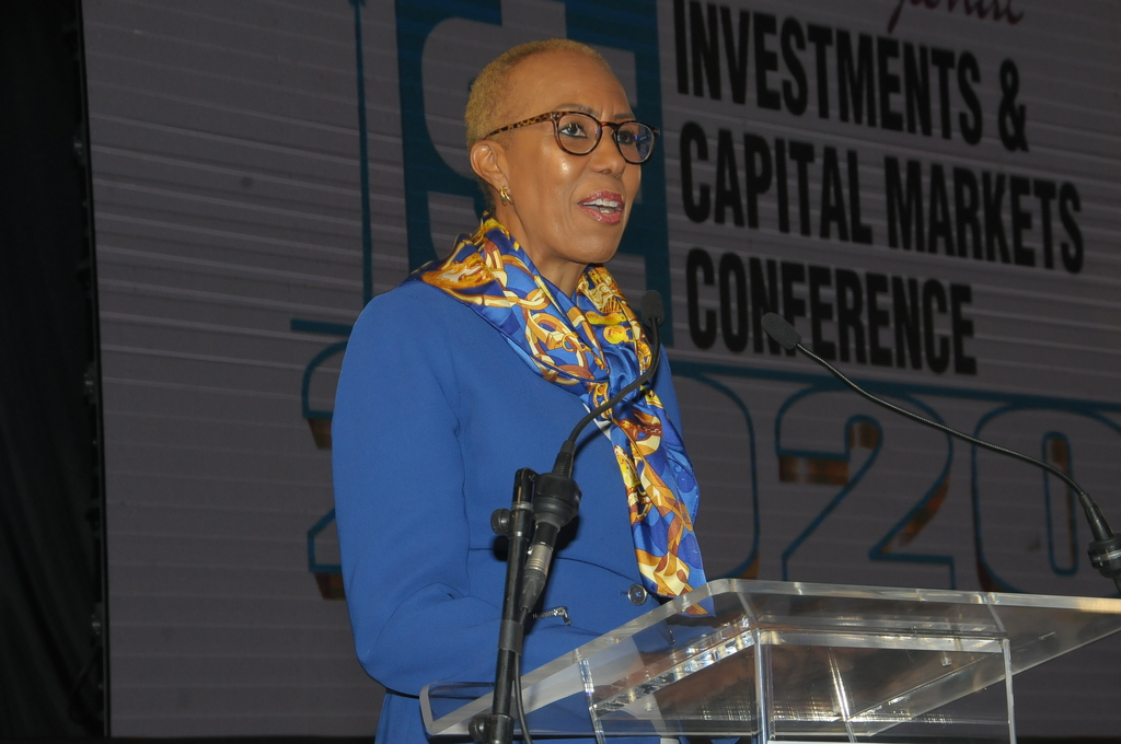 Technology Minister  Fayval Williams addressing the 15th Jamaica Stock Exchange (JSE) Regional Conference on Investments and Capital Markets on Tuesday. (Photo: Denns Coke)