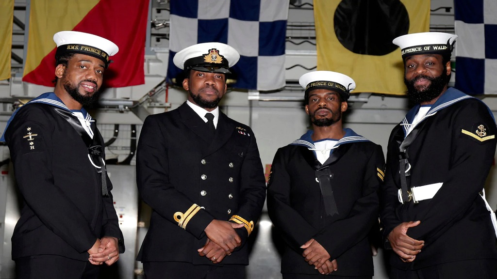 Left to right: Leading Aircraft Handler Melchion Quammie; Lieutenant Shabaka Kenyatta; Leading Aircraft Handler Shavorn Phillip; and Leading Logistician Supply Chain H Kevin Joseph, of the Defence Rastafarian Network. Dec 20, 2019. (Photo Credit: LPHOT LUKE/ROYAL NAVY)
