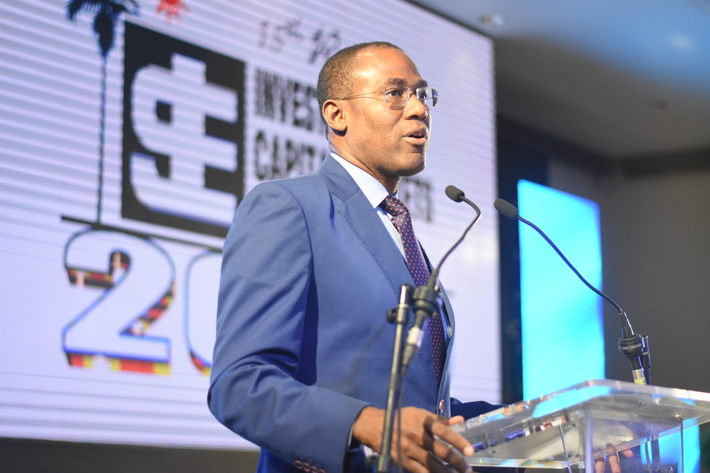 Finance Minister Dr Nigel Clarke addressing the 15th Jamaica Stock Exchange (JSE) Regional Conference on Investments and Capital Markets on Thursday. (Photo: Marlon Reid)