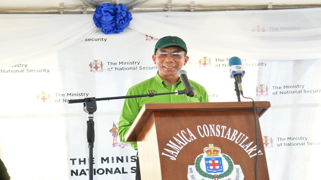 Dr Horace Chang addresses a ceremony to announce the construction of a new police station and Area 2 headquarters in Port Maria, St Mary, on Friday.