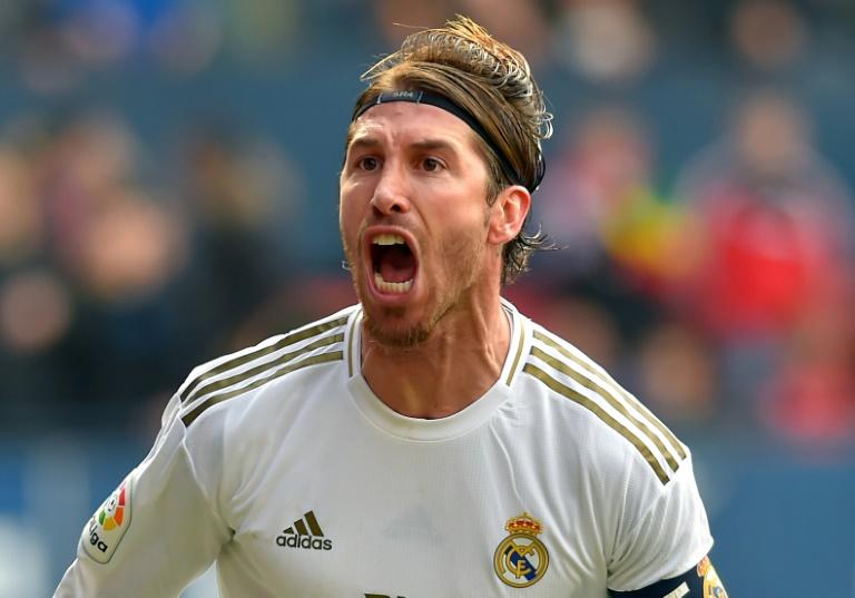 Le capitaine du Real Madrid Sergio Ramos vient de marquer le 2e but de son équipe contre Osasuna, le 9 février 2020 à Pampelune