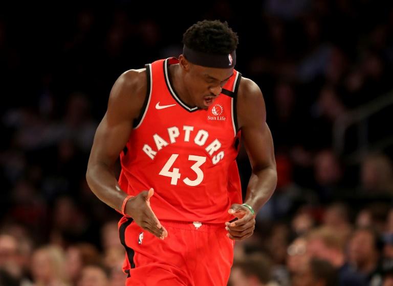 Pascal Siakam des Toronto Raptors exulte après un panier à 3 points contre les New York Knicks, en NBA au Madison Square Garden, le 24 janvier 2020