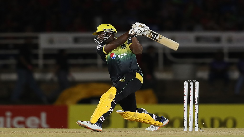 Andre Russell of Jamaica Tallawahs hits a six during the Hero Caribbean Premier League match against Trinbago Knight Riders at Queen's Park Oval on Friday, September 6, 2019 in Port of Spain, Trinidad and Tobago. (Photo by Ashley Allen - CPL T20/Getty Images).