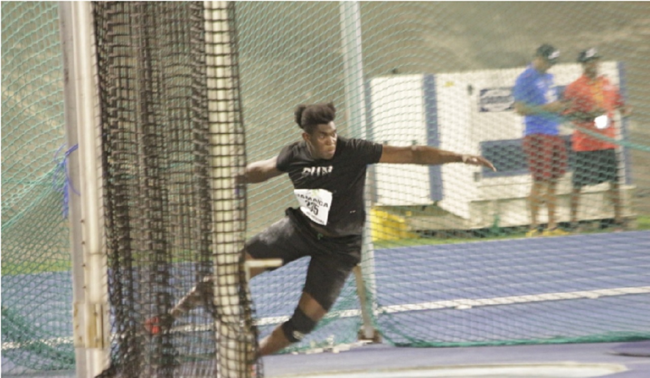 Jamaica's top discus thrower, Fedrick Dacres in action at the discus ring at the National Stadium.