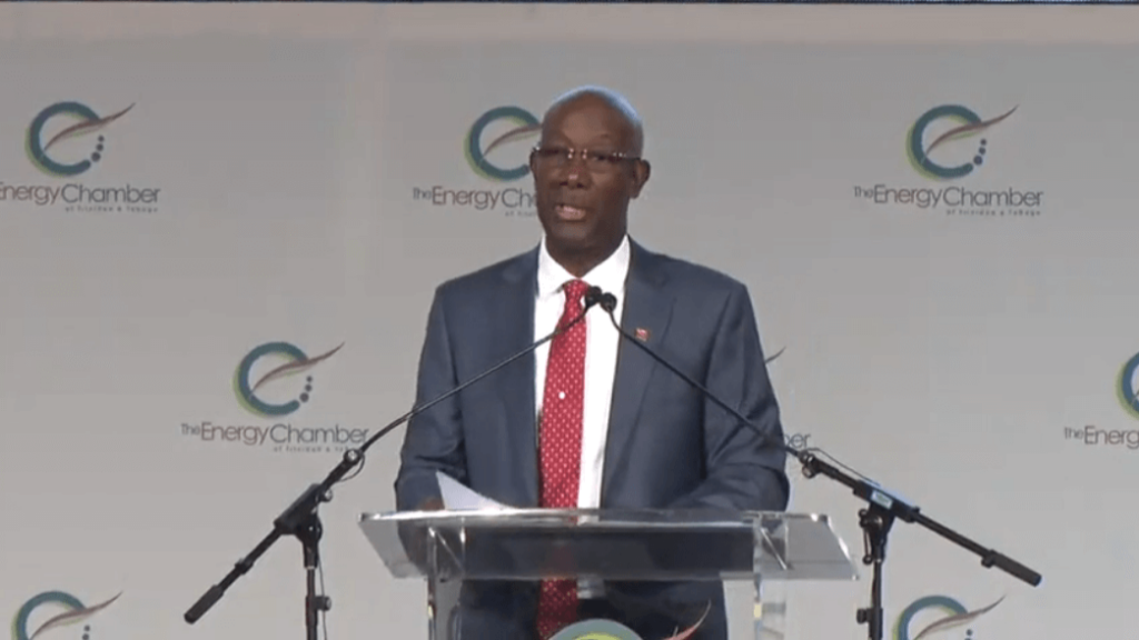 Prime Minister Dr Keith Rowley speaks at the opening of the Trinidad and Tobago Energy Conference and Trade Show at Hyatt Regency, Port of Spain on February 3, 2020.