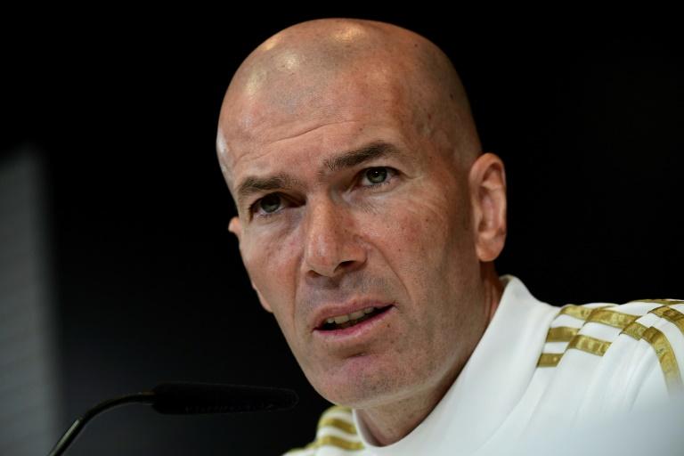 Le coach du Real Madrid Zinédine Zidane lors d'un point presse au centre d'entraînement du club à Valdebebas, le 29 février 2020