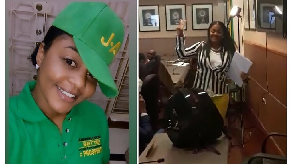 Combination of photos showing councillor Kari Douglas after crossing the floor of the KSAMC to become a member of the ruling Jamaica Labour Party. At left she is pictured decked out in green, the colour of the JLP, while at right she flashes the JLP's 'V' sign immediately after crossing the aisle.