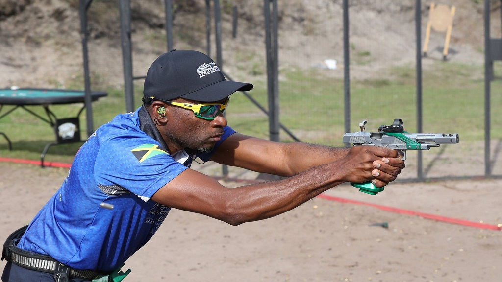 Jamaican Lesgar Murdock in action at the 2020 Florida Open Pistol Shooting Tournament recently at the Universal Shooting Academy in Frostproof, Florida.
